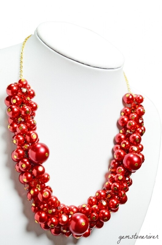 SOLD -Chunky Bold Statement Red Berry Pearls and Fire Hot Czech Crystal Necklace Earrrings Set - SCARLET Valentine Bridesmaids Holiday Party Jewellery