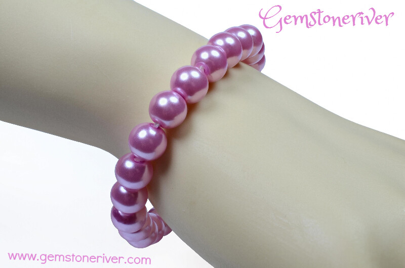 B126 Mauve Pink Blush Pearl Stretch Stackable Girl's Bracelet - Flowergirl Charm