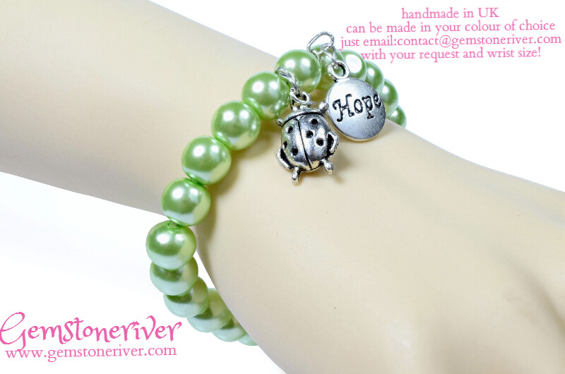 B125 Lime Green Pearl and Ladybug beetle with HOPE charms - bridesmaid mother personalised jewellery UK