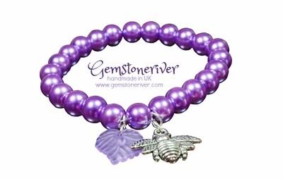 Purple Pearl stretch Bracelet Bee Flower & Fancy Leaf Charm - Flower Girl wedding
