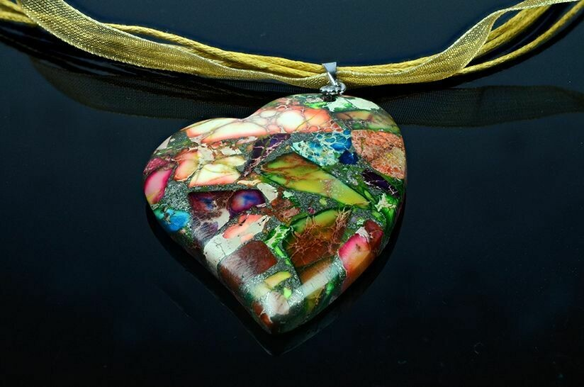 G73 SOLD Bold Gemstone Statement Heart shaped Pendant - Gemstoneriver Designer Necklace UK Handmade
