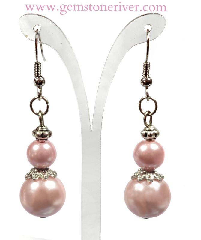 E132C Pale Baby Pink Pearl Tibetan Silver Dangle Earrings - Bridesmaid Flower Girl Bridal Wedding Party, Bridesmaids Gift