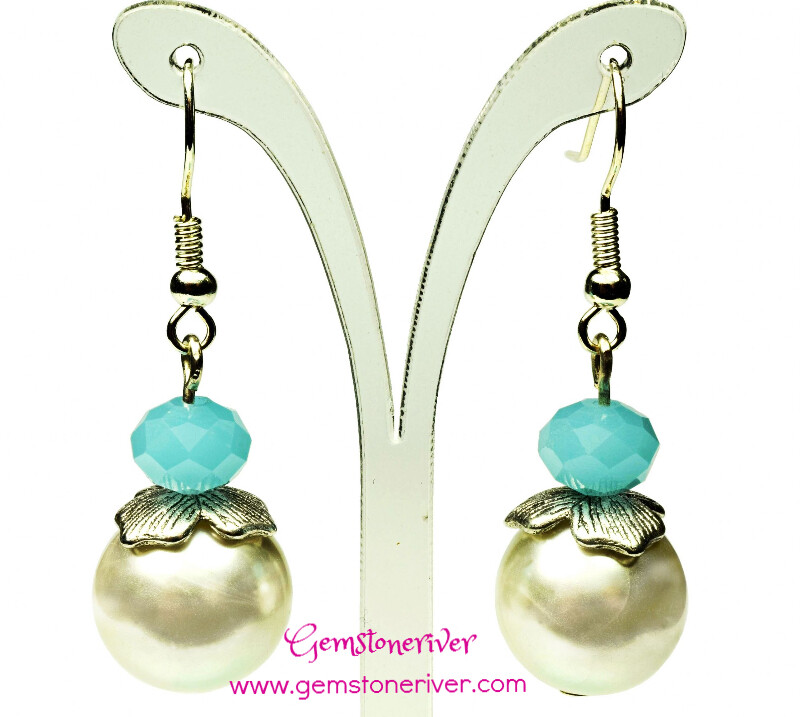 Lake Blue Crystal antique Silver Ivory Cream Pearl Earrings
