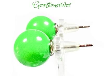 Green funky bubblegum Pearl stud earrings - bridesmaid summer wedding beach holiday boho glam jewellery   Gemstoneriver®