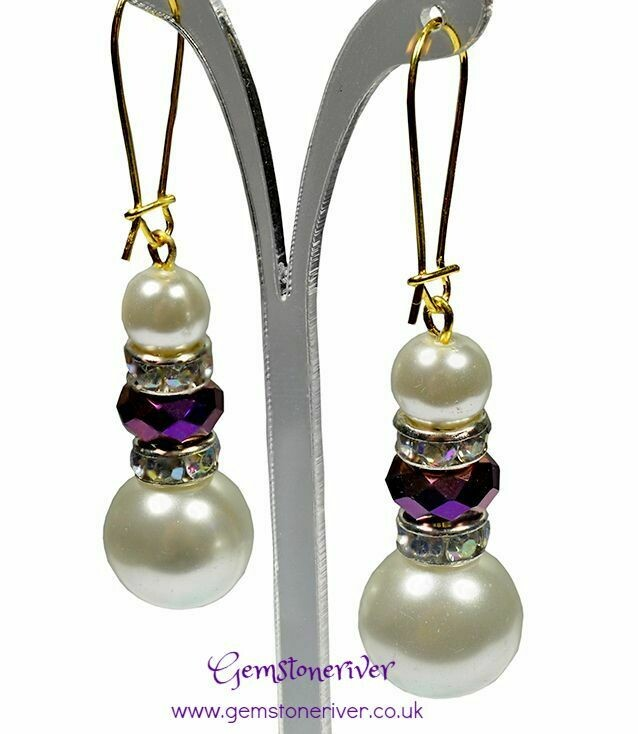 E233 Ultra-violet purple crystal & ivory cream Gold earrings & Rhinestone - Bride Bridesmaids Wedding Gemstoneriver UK