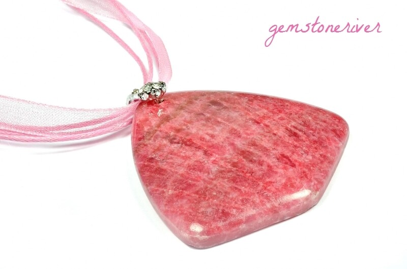 Rhodochrosite cerise pink gemstone Necklace - Bridesmaids Valentine Cocktail XMas Prom Party Jewellery