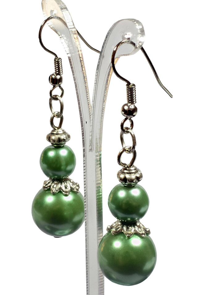 Olive Green Pearl Silver Dangle Earrings Bridesmaids Wedding Maid of Honour Flower Girl Gift for Women