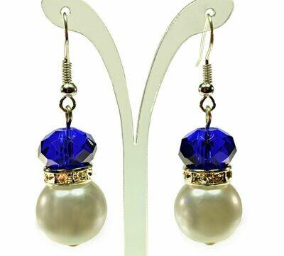 London Cobalt Blue Crystal Rhinestone Ivory Cream Pearl Earrings Wedding Prom Party Jewelry