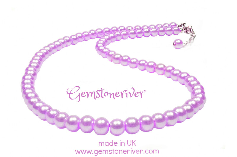 Lilac Light Purple pearl single line Necklace Set Bridesmaids Gift for Mother handmade UK