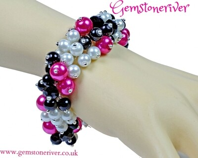 Cerise Hot Pink Black diamond crystal & White Pearl Cluster bracelet & earrings set