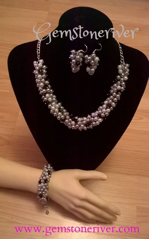 SOLD 3pc Custom order Akweni - Grey White Pearls & Black Fire Crystal Necklace