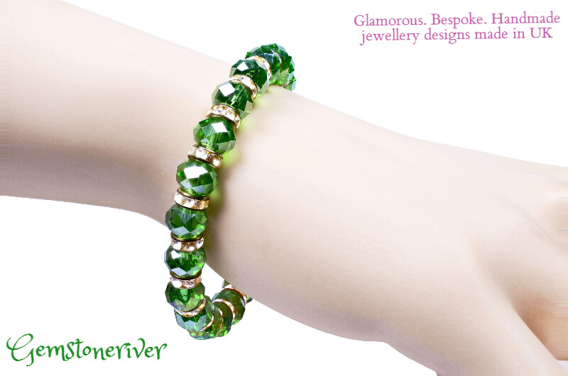 B148 Sparkling Green Crystal Rhinestone & Gold & Bracelet stylish romantic Dinner Date Bridesmaid, Flower Girl wedding jewellery uk