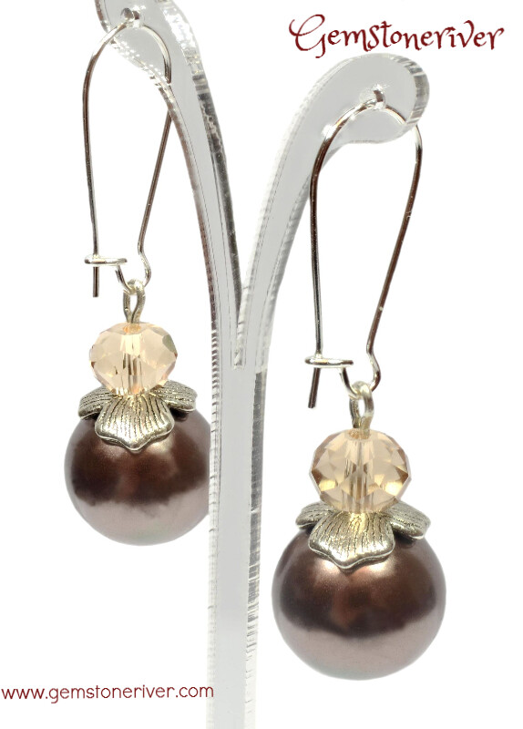 E134 Stylish Citrine Amber Crystal & Brown Pearl Earrings - Bridesmaid Wedding Pearls Maid of Honour, Prom Party Jewelry