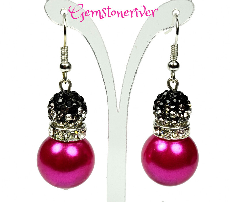 E227 - Cerise hot pink fuchsia pearls & black sparkle crystal ball drop earrings -| Gemstoneriver® - Zoe