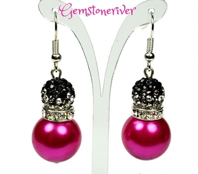 E227 - Cerise hot pink fuchsia pearls & black sparkle crystal ball drop earrings -| Gemstoneriver® - Zoe