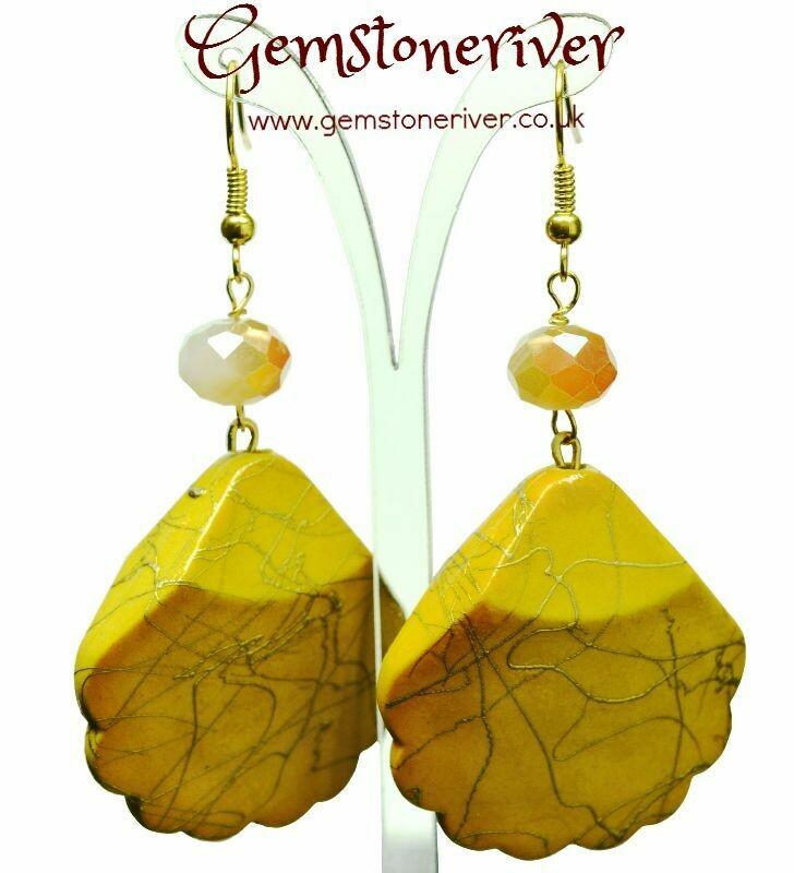 Canary sunshine yellow & gold swirl earrings bold - handmade bridesmaid beach holiday drop dangle | UK Gemstoneriver