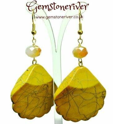 Canary sunshine yellow & gold swirl earrings bold - handmade bridesmaid beach holiday drop dangle   UK Gemstoneriver