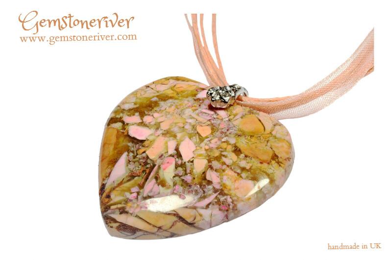 Amber golden yellow peach pink quartz jasper gemstone pendant  necklace - SALLY bridesmaid wedding party jewellery UK