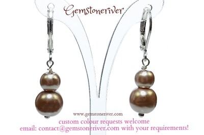 E162 Taupe Mocha Praline light Brown Pearl Mini Dangle Earrings - Bridesmaid Flower Girl Bridal Wedding Party - Eileen