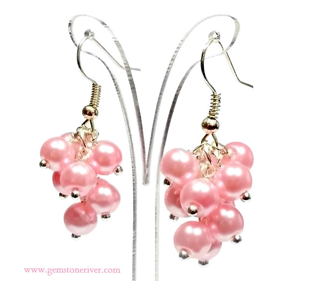 E326 Candy Pink rose blush pearl mini cluster earrings - wedding Bridesmaid, Romantic beach holiday party jewellery uk