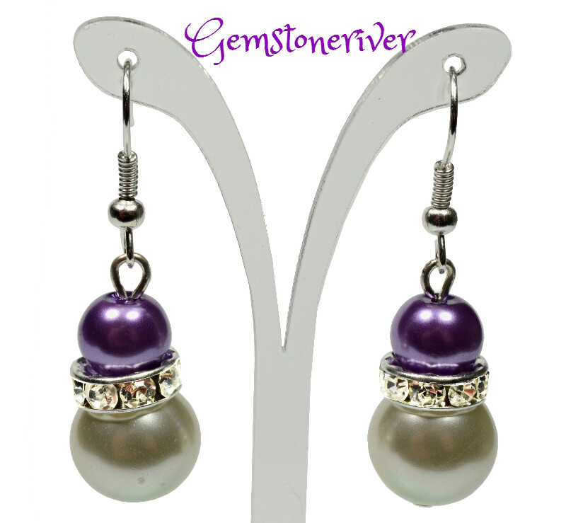 E221 - Purple & ivory cream pearls and sparkling rhinestone earrings - Bride Bridesmaids Flowergirl  Prom Glam | Gemstoneriver®