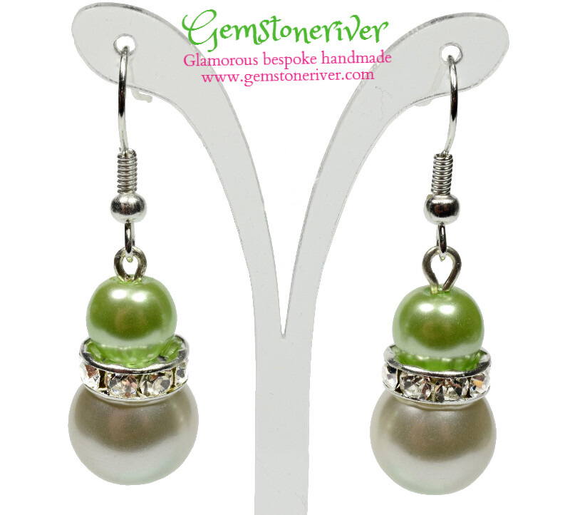 E222 - Lime Green & ivory cream pearls and sparkling rhinestone earrings - Bride Bridesmaids Flowergirl Prom Glam | Gemstoneriver®