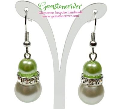 E222 - Lime Green & ivory cream pearls and sparkling rhinestone earrings - Bride Bridesmaids Flowergirl Prom Glam   Gemstoneriver®
