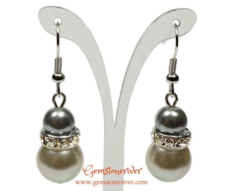 E269 - Silver grey & ivory cream pearls earrings - Bride Bridesmaids maid of honour Prom Glam | Gemstoneriver®