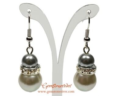 E269 - Silver grey & ivory cream pearls earrings - Bride Bridesmaids maid of honour Prom Glam   Gemstoneriver®