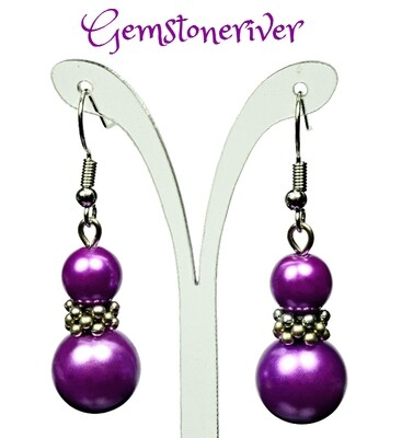 E339 Purple Pearl Silver Drop Dangle Earrings - Bridesmaids Prom Dinner Gala Party Bridesmaid Office Jewellery - Siddy