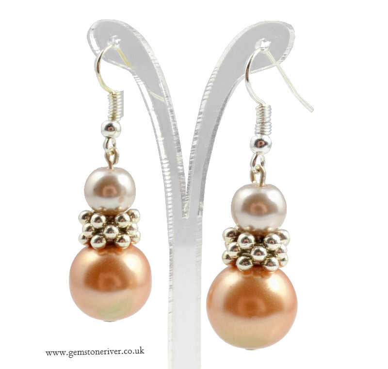 E215 Taupe mocha & Gold bronze brown pearl Bali silver Earrings - Bridesmaids Prom Dinner Gala Party Bridesmaid Office Jewellery - Levita