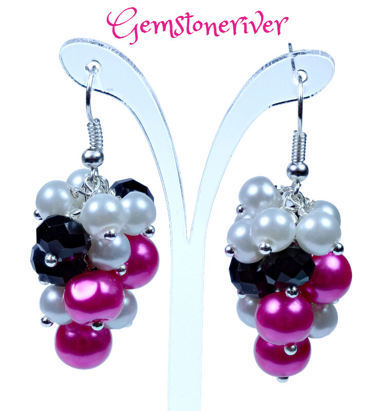 E266 cerise pink white pearl & black diamond crystal statement cluster  dangle earrings - Bridal Party, Bridesmaid Ascot jewellery UK