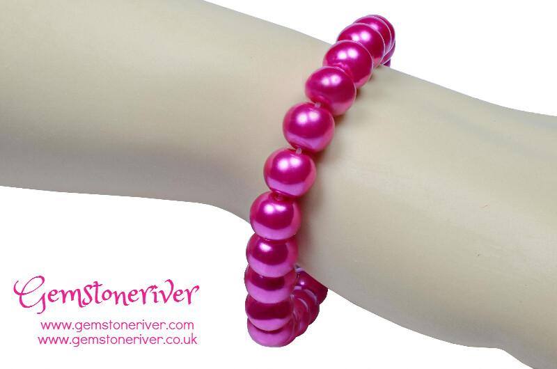 Cerise hot pink fuchsia Pearl Bracelet   Gemstoneriver UK