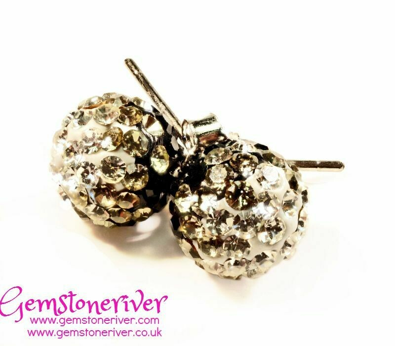 Sparkling black crystal disco ball diamante stud earrings on 925 Silver | bridesmaid wedding party jewellery