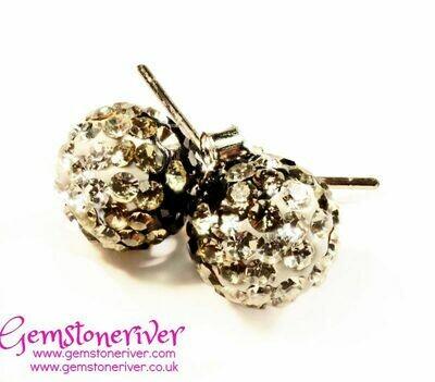 Sparkling black crystal disco ball diamante stud earrings on 925 Silver   bridesmaid wedding party jewellery