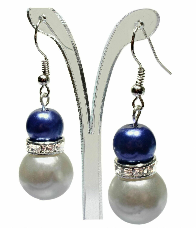 E18 Blue Crystal Rhinestone Ivory Cream White Pearl Earrings - Mel - Bridesmaid Wedding Prom Party Jewelry