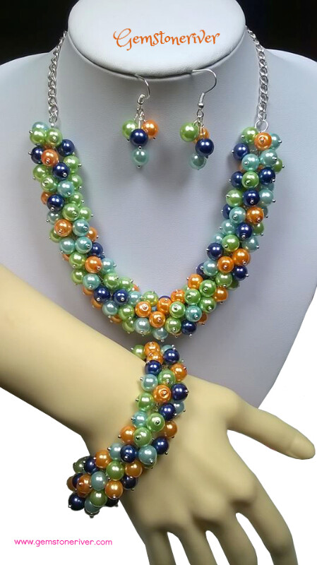 3pc Blue Orange Lime Green & Light Blue Statement Pearl Cluster Necklace