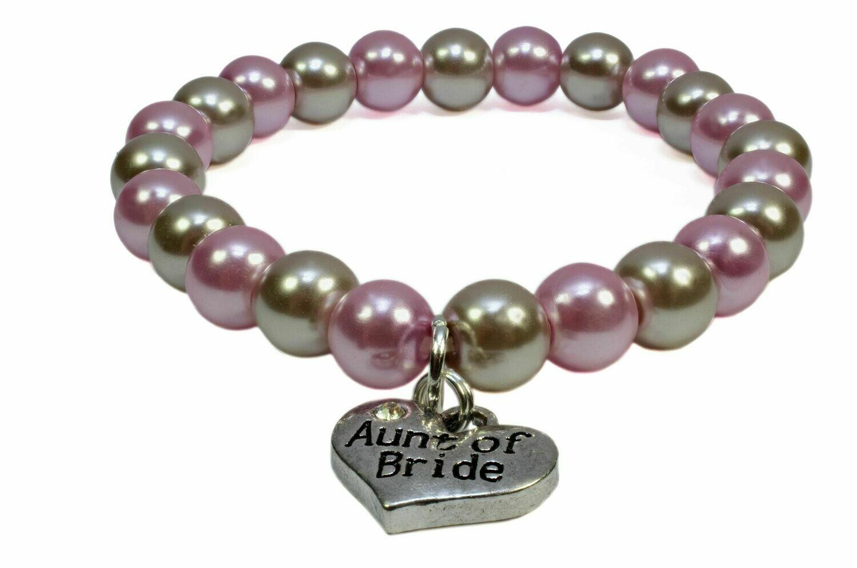 Light pink & Mocha Taupe Pearl Timeless Bracelet - Aunt of Bride Charm Wedding