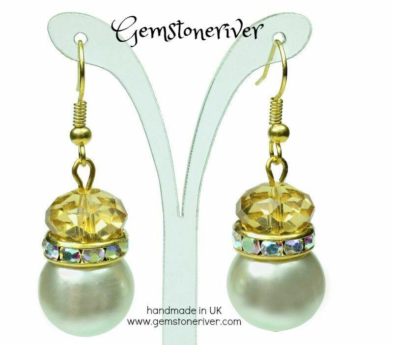 E197 Citrine Gold Amber Rhinestone Cream White Pearl Earrings - Bridesmaid Bride Maid of Honour Beach Party Gemstoneriver UK