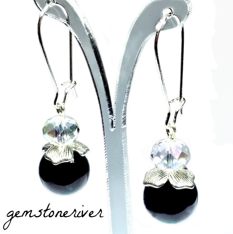 Black Pearl Aurora Borealis Clear Crystal Designer UK Handmade Earrings - Bridesmaid Wedding Maid of Honour Prom Party Jewelry
