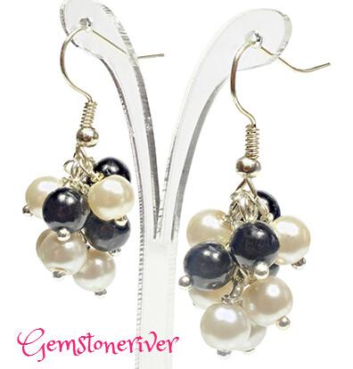 E129 Ivory Cream & Black Pearl Mini Cluster Earrings - wedding Bridal Party Bridesmaid handmade UK Gemstoneriver