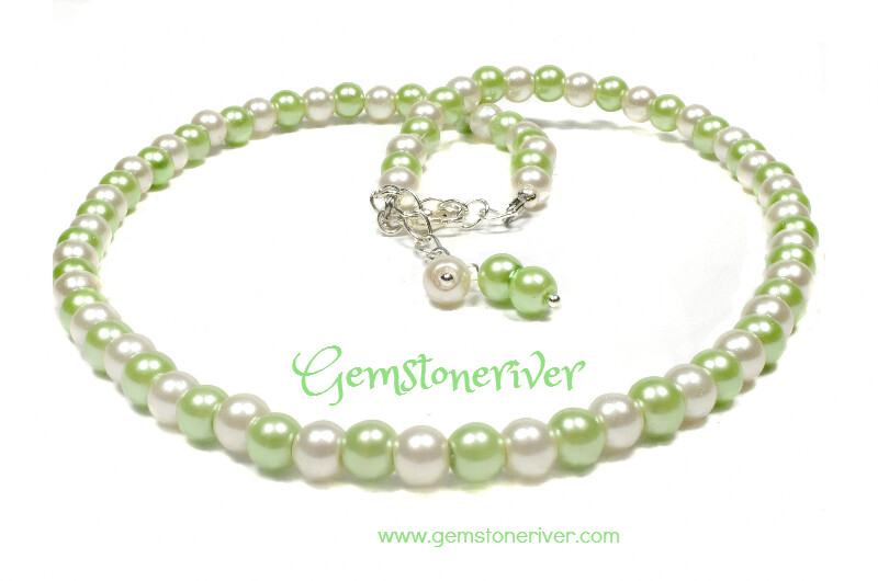 Lime, Ivory Cream pearl necklace & earring Set - Bridesmaids Flower Girl Prom Cocktail Carnival Beach Party Jewellery - Stella Gemstoneriver UK