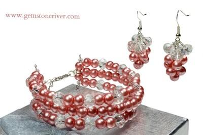 B187 Crystal Coral Peach Pink Pearl 4 x Memory Bracelet Earrings sets -CUSTOM ORDER - Tina in USA - bridesmaid flower girl bride wedding jewelry