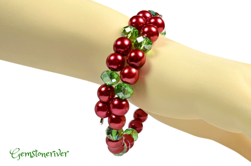 Red pearl & Crystal Emerald Green Sparkling Christmas Bracelet