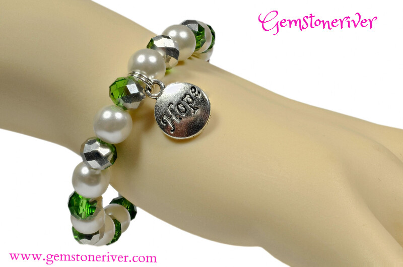 Stylish Ivory Cream White & Silver Green Crystal Bracelet with HOPE charm