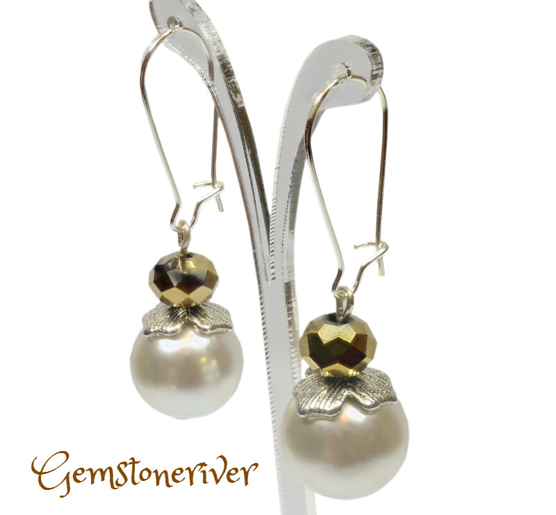 E138 Gold Crystal & Ivory Cream Pearl Earrings - Kim - Designer Handmade Bridesmaid Bride Maid of Honour Prom Party Jewelry