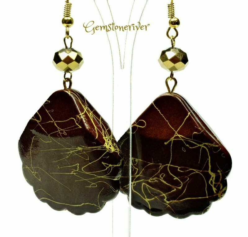 E331 Stylish Brown & Gold swirl drop earrings - maid of honour wedding summer party jewellery | Gemstoneriver