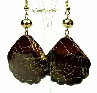 E331 Stylish Brown & Gold swirl drop earrings - maid of honour wedding summer party jewellery   Gemstoneriver