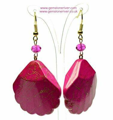 E332 Cerise hot pink Gold swirl earrings - wedding bridesmaid bride cocktail prom jewellery jewellery Gemstoneriver UK