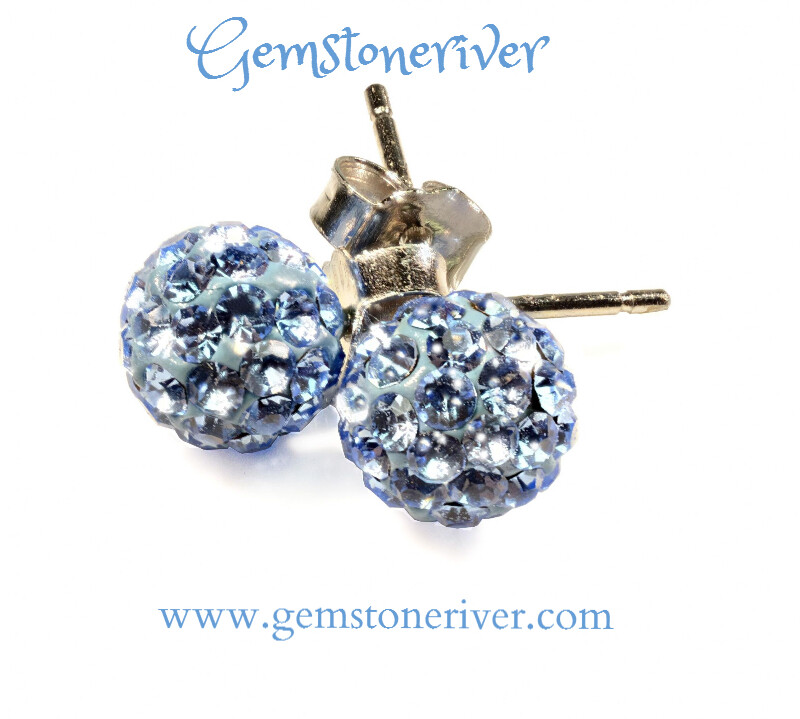 Blue Crystal Ball stud earrings on 925 Silver Gift for her